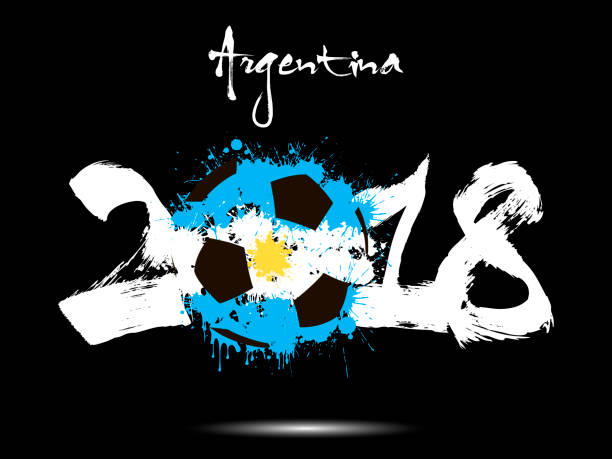 Resumen número 2018 y fútbol bola blot - ilustración de arte vectorial