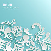Abstract Ocean Background with 3d Floral Pattern