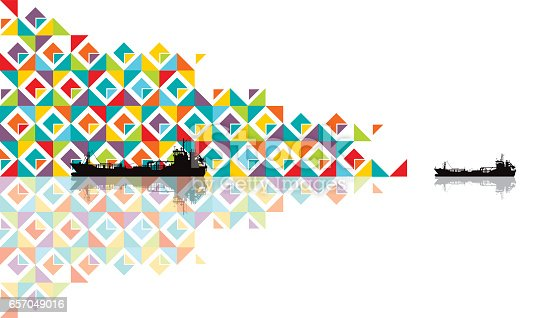Vector illustrations of a beautiful multicolored abstract pattern with reflections on a abstract ocean where navigates a cargo ship.