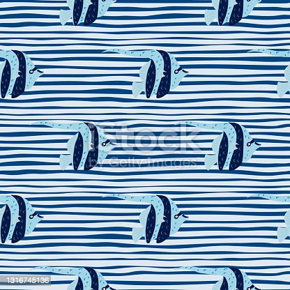 istock Abstract ocean seamless pattern with bright imperial angelfish ornament. Striped blue background. 1316745136