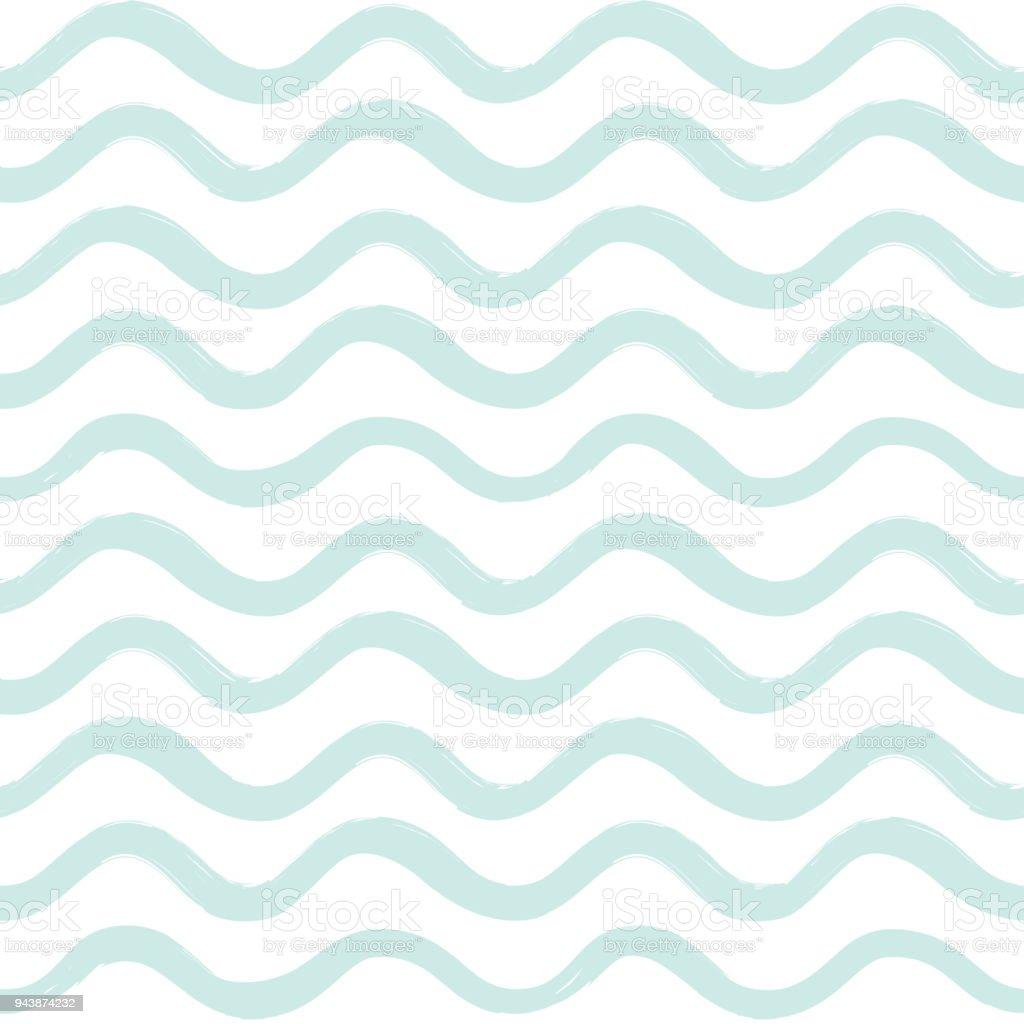 Abstract Ocean Wave Seamless Pattern Wavy Line Stripe