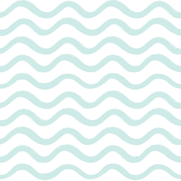 Abstract ocean wave seamless pattern. Wavy line stripe background. vector art illustration