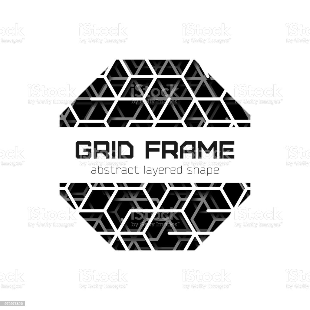 Abstract Octagon Frame With Layered Lines Triangular Grid And Shadow ...
