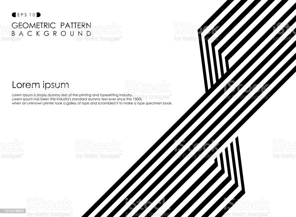 Abstract of black and white op art business stripe line background,...
