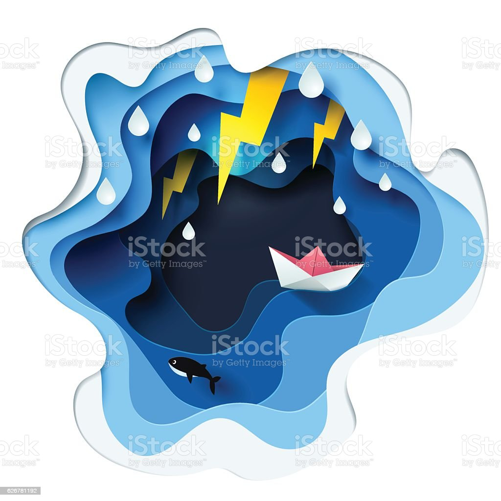 Abstract of little paper boat against crazy sea and thunderbolt vector art illustration