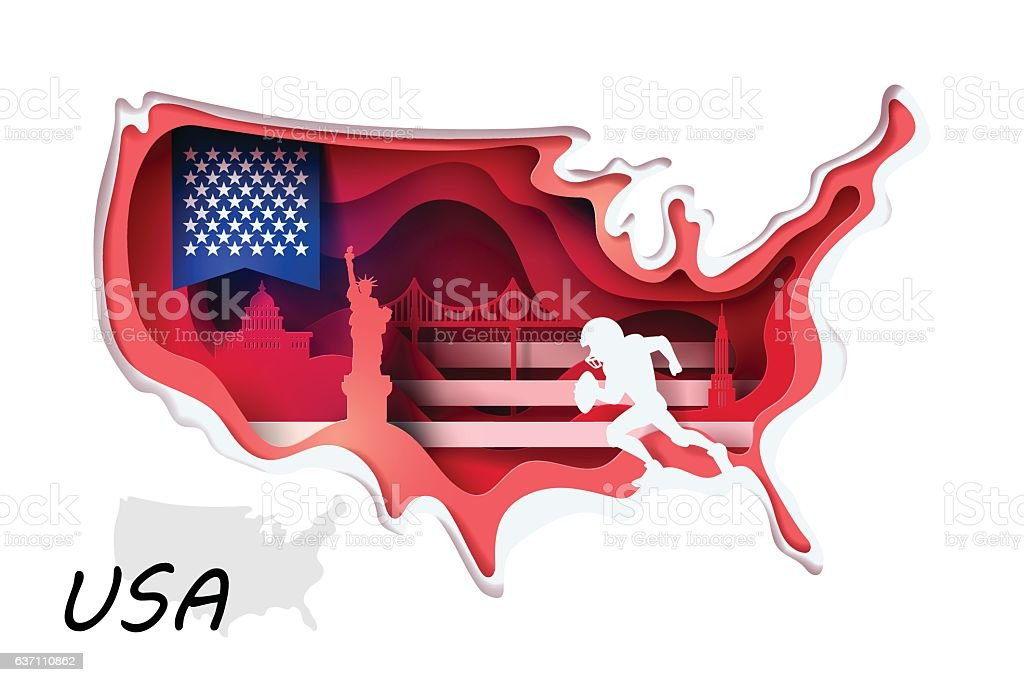 Abstract of paper art carve to USA map vector art illustration