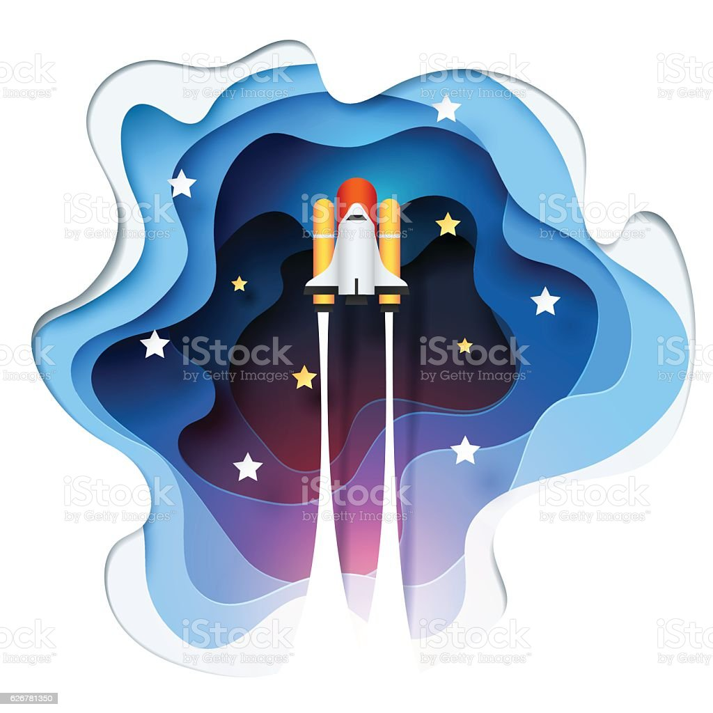 Abstract of paper spaceship launch to space vector art illustration