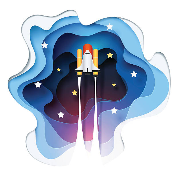 abstract of paper spaceship launch to space - abstract of paper spaceship launch to space stock illustrations, clip art, cartoons, & icons