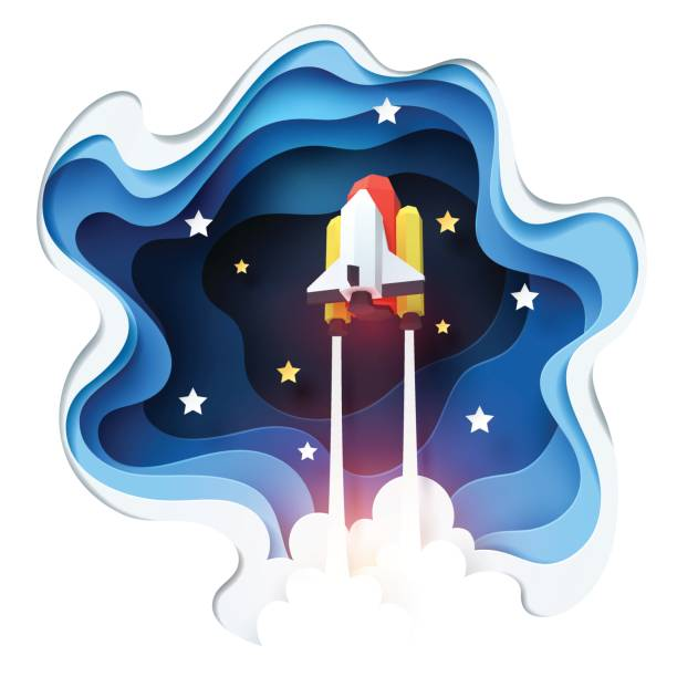 abstract of spaceship launch to space, paper art concept and exploration idea - abstract of paper spaceship launch to space stock illustrations, clip art, cartoons, & icons