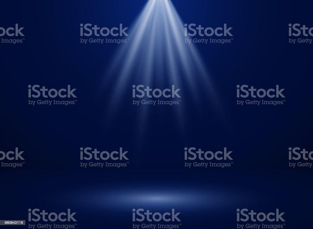 Abstract of spotlight presentation on dark blue gradient background.