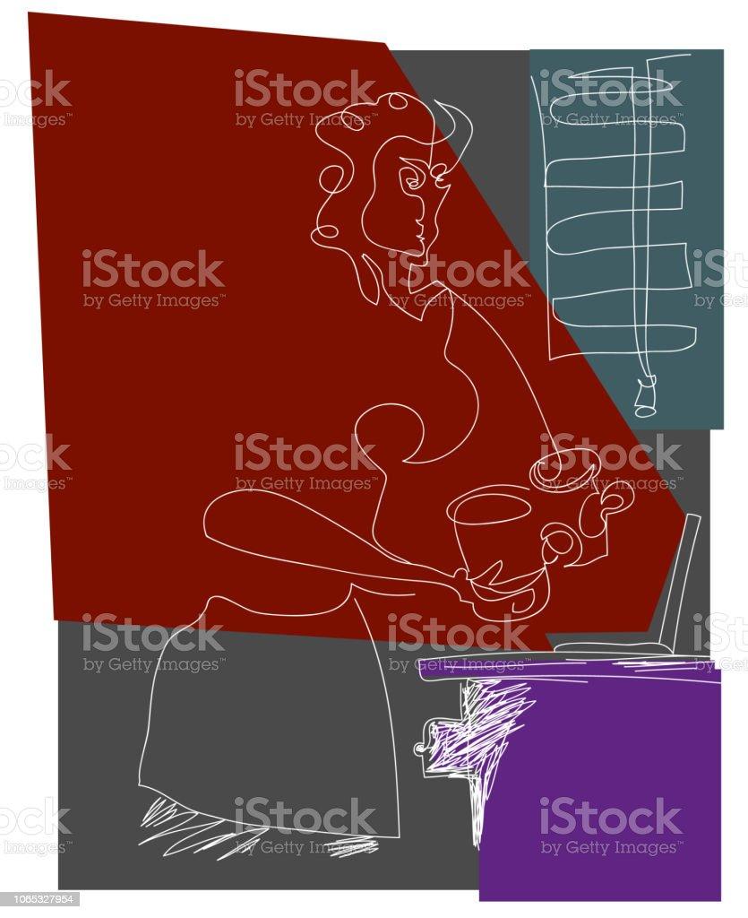 Soyut Office worken kadın. vektör sanat illüstrasyonu