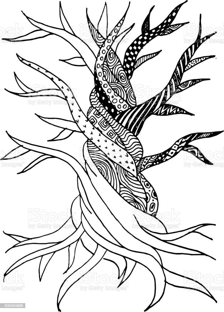 Abstrakte alter Baum mit Wurzeln für Ihr design Doodles zen – Vektorgrafik