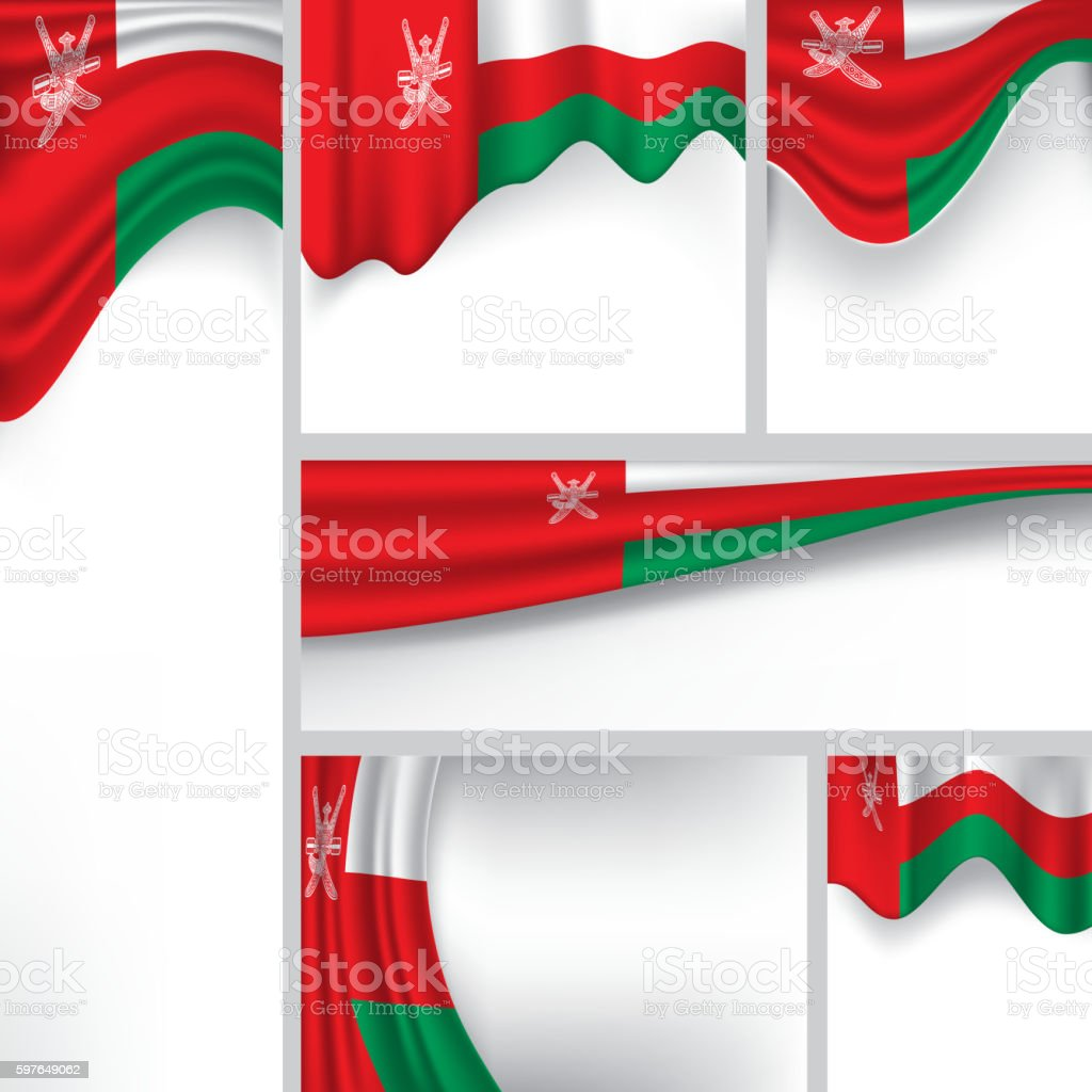 Abstract Oman Flag, sultanate Oman Colors (Vector Art) vector art illustration