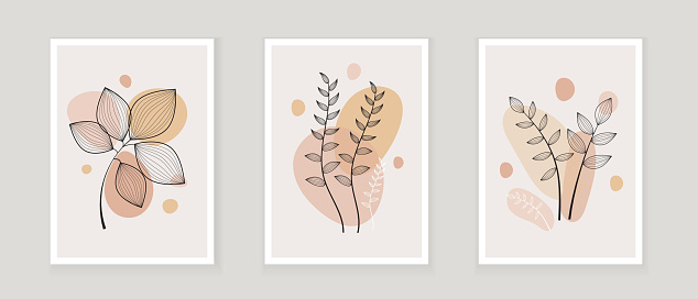 Abstract one line art leaf. Botanical prints boho vector set for wall art . Bohemian style with line art foliage. Minimalist abstract plant branch art boho design for cover, poster