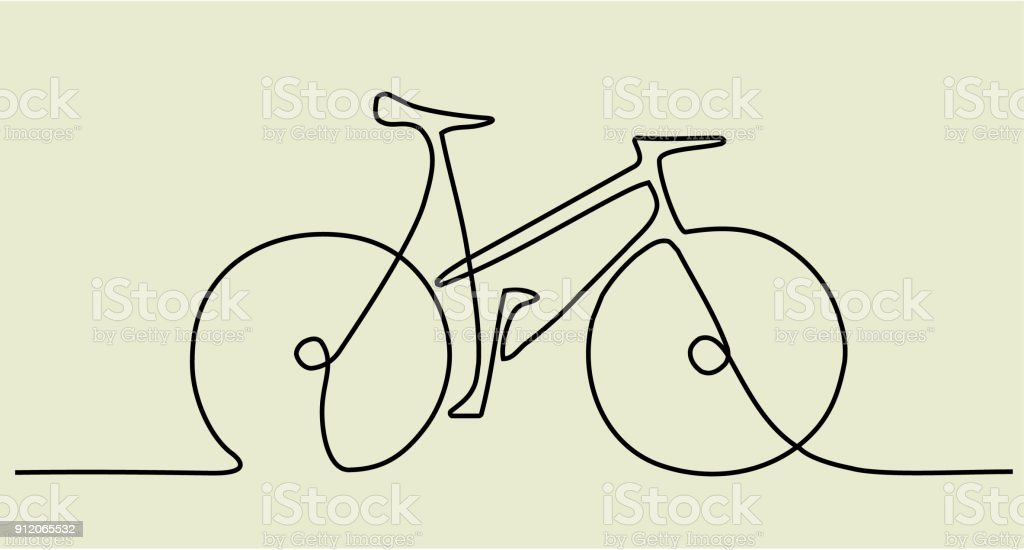 Abstract one line drawing with bike royalty-free abstract one line drawing with bike stock illustration - download image now
