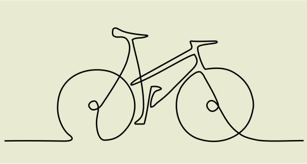 abstract one line drawing with bike - bike stock illustrations, clip art, cartoons, & icons