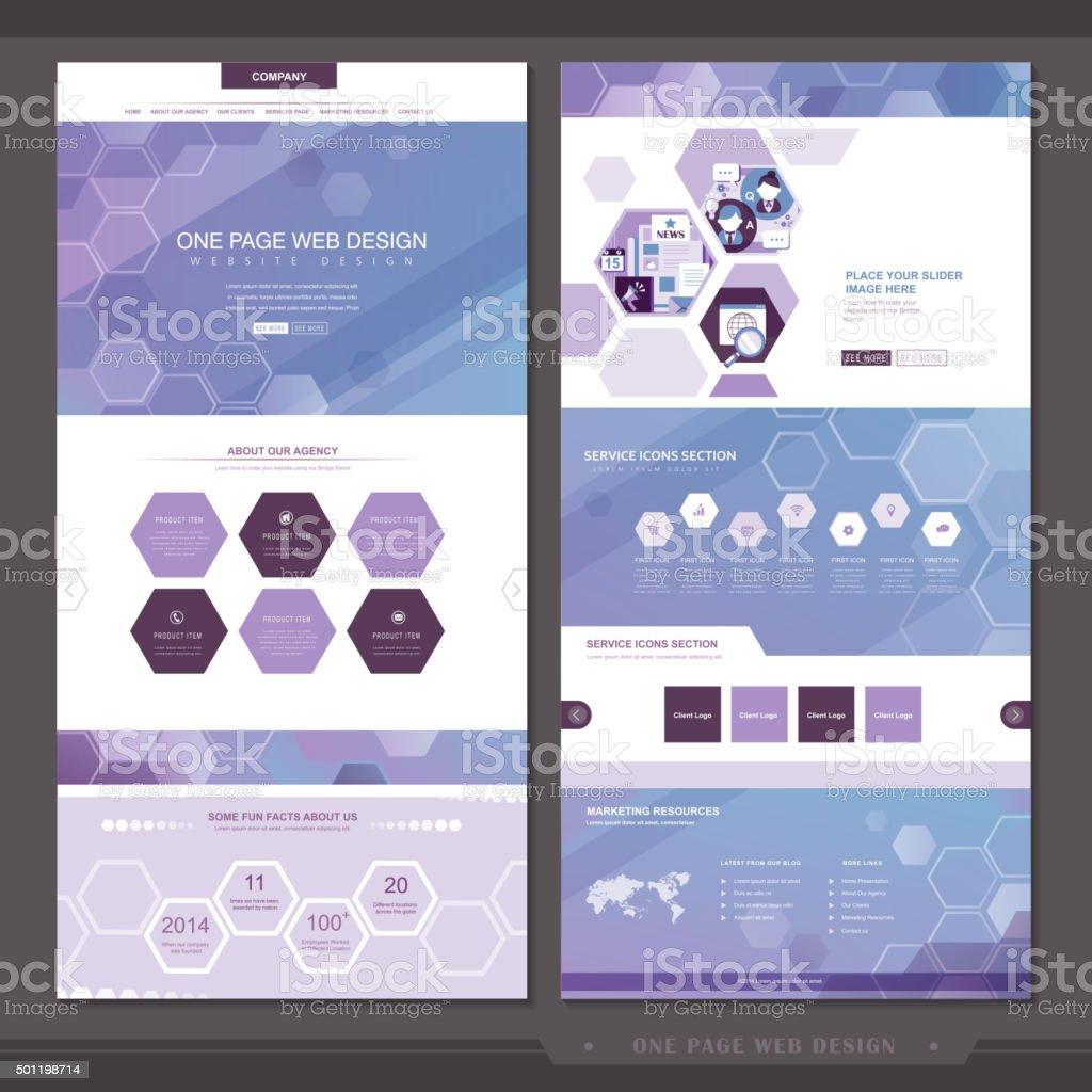 Astratto modello di progettazione sito web una pagina - illustrazione arte vettoriale