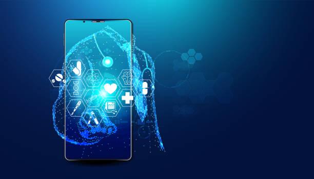 摘要 在線醫生與醫療服務概念 當前醫療保健行業,可以接入互聯網和在線世界幫助人們獲得治療。在線。 - 健康科技 幅插畫檔、美工圖案、卡通及圖標