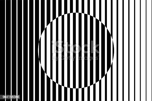 istock Abstract op art background made from black and white lines causing a circle shape illusion. 964158386