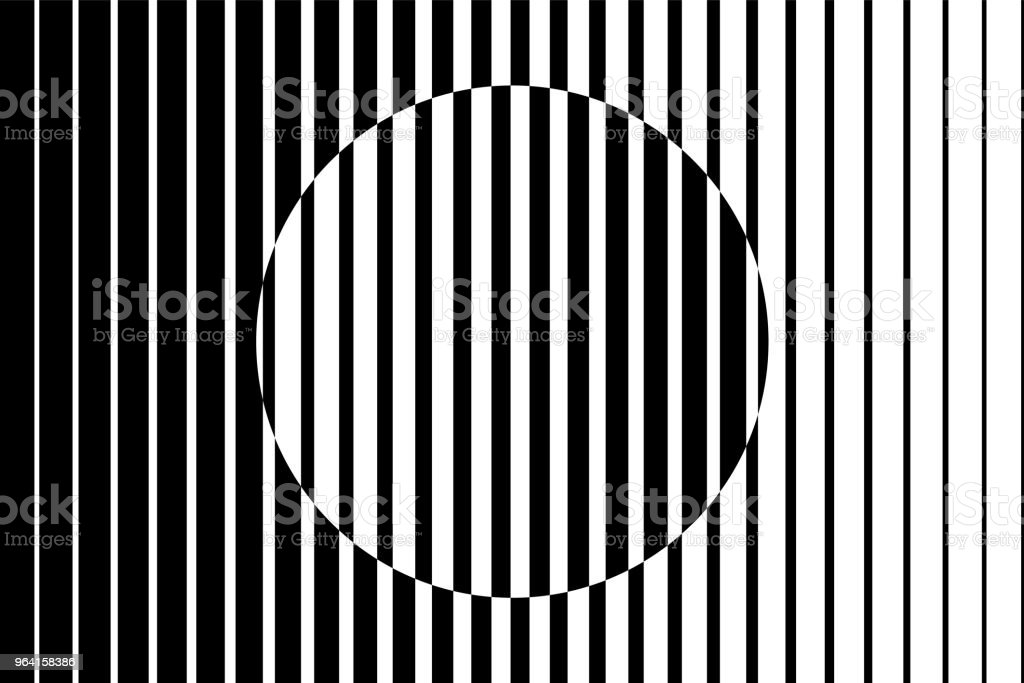 Abstract op art background made from black and white lines causing a circle shape illusion. vector art illustration