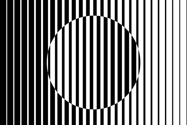 stockillustraties, clipart, cartoons en iconen met abstracte kunst op achtergrond gemaakt van zwarte en witte lijnen waardoor de illusie van een cirkel vorm. - parallel