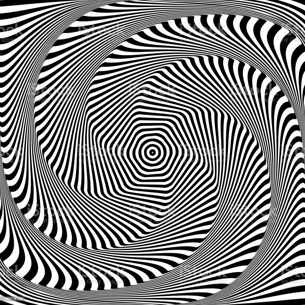 Abstract op-art design. Illusie van torsie beweging. - Royalty-free Abstract vectorkunst