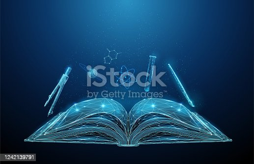 Abstract open schoolbook with icon of school subjects. Low poly style design. Abstract geometric background. Wireframe light connection structure Modern 3d graphic concept Isolated vector illustration