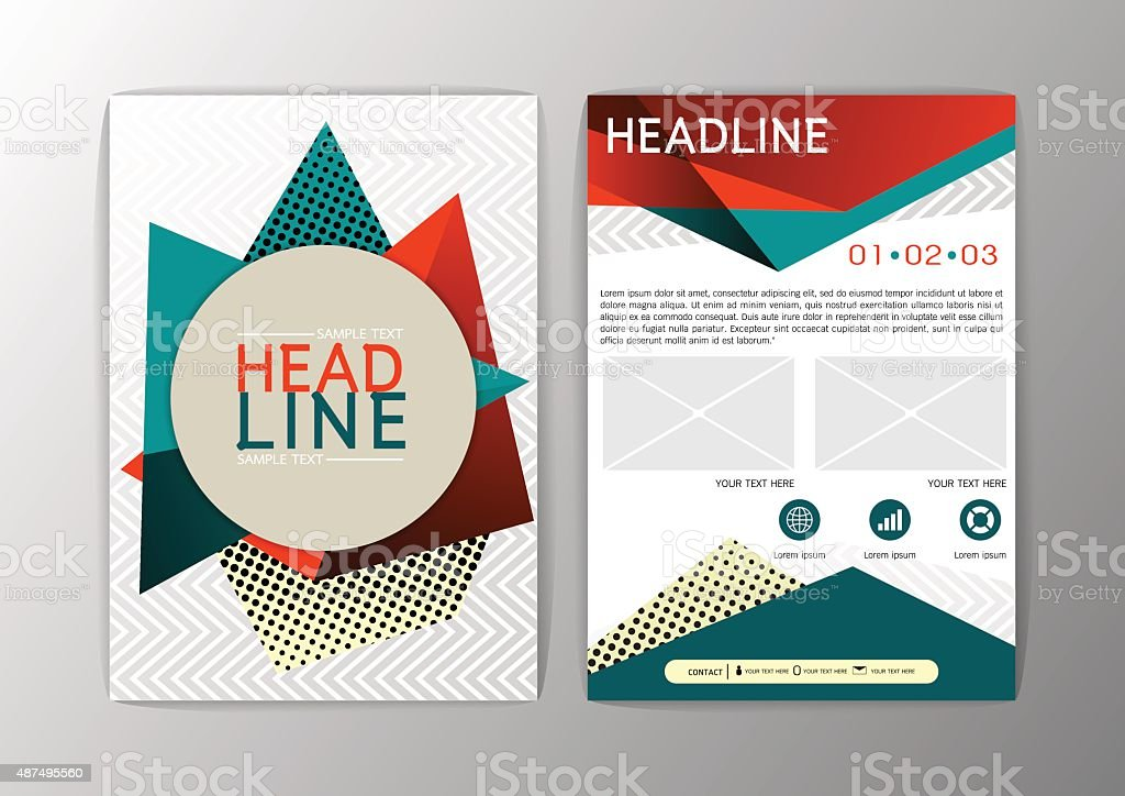 Abstract Orange And Green Triangle Design Brochure Flyer Template