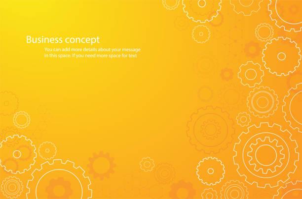 ilustrações, clipart, desenhos animados e ícones de abstrato laranja cogs roda fundo vector ilustração - equipamento amarelo