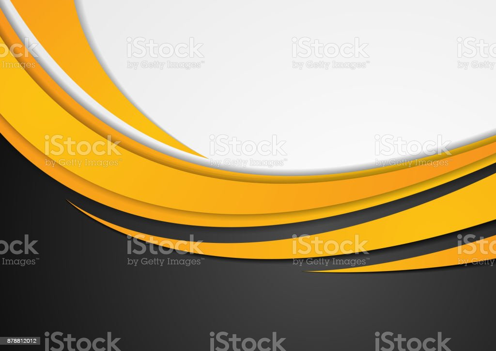 Abstract orange corporate wavy background vector art illustration