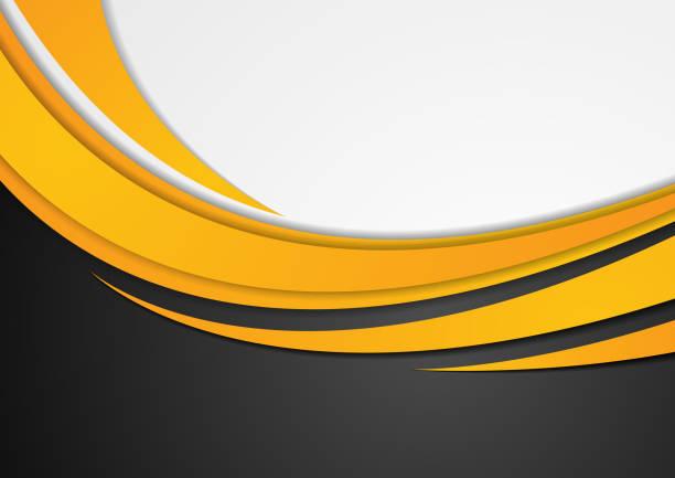 Abstract orange corporate wavy background vector art illustration