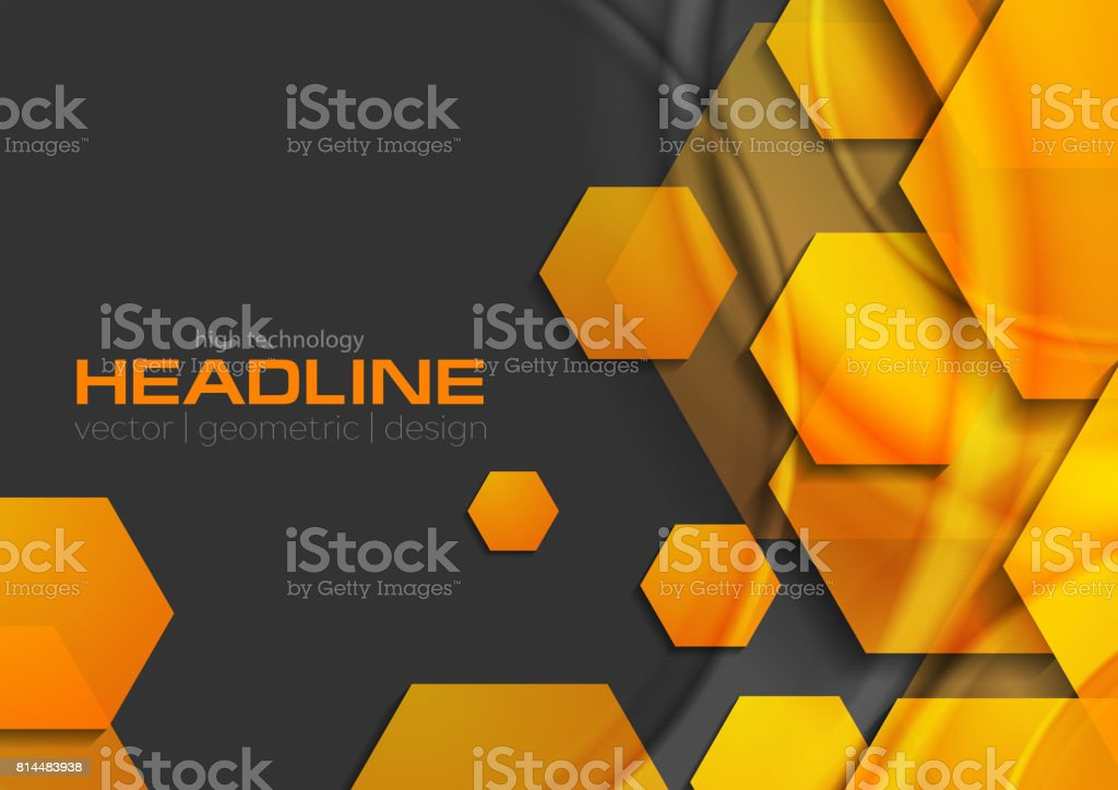 Abstract orange glossy shiny tech background with hexagons vector art illustration