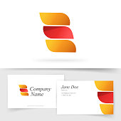 istock Abstract orange red color logo with 3 gradient elegance leaves elements vector logotype and business visiting card template design, idea of beauty wing shaped curve emblem, colorful geometric symbol 1310100675