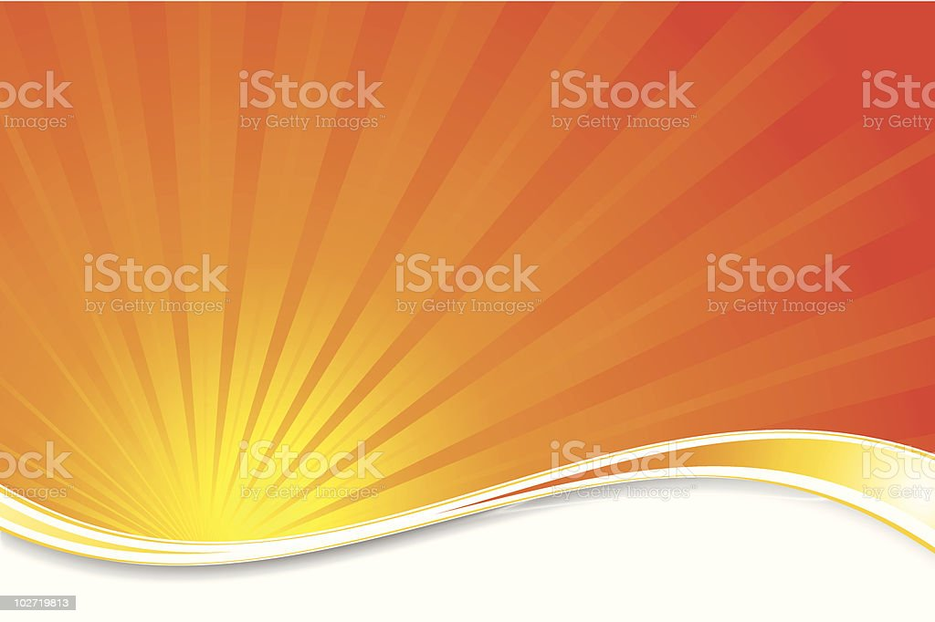 Abstract orange sunburst and wave background royalty-free stock vector art