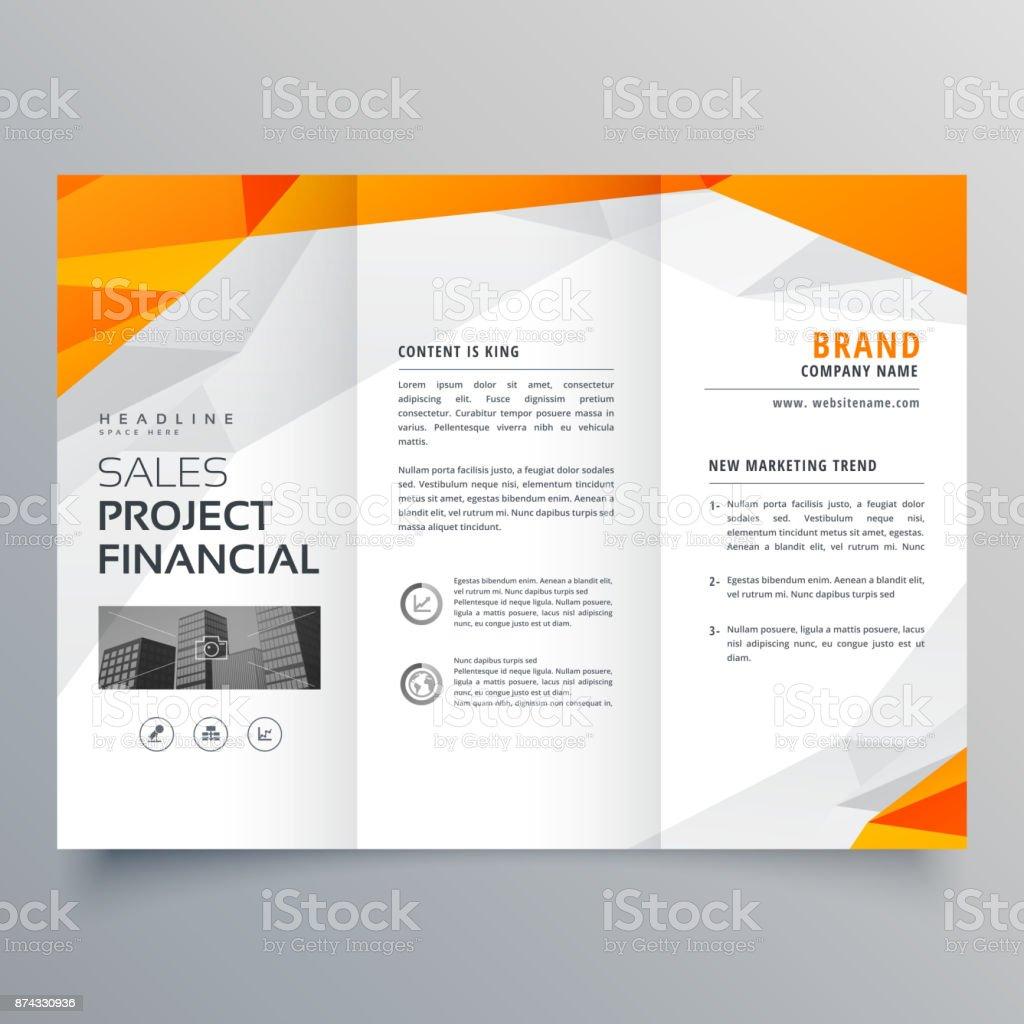 abstract orange trifold brochure design business template vector art illustration