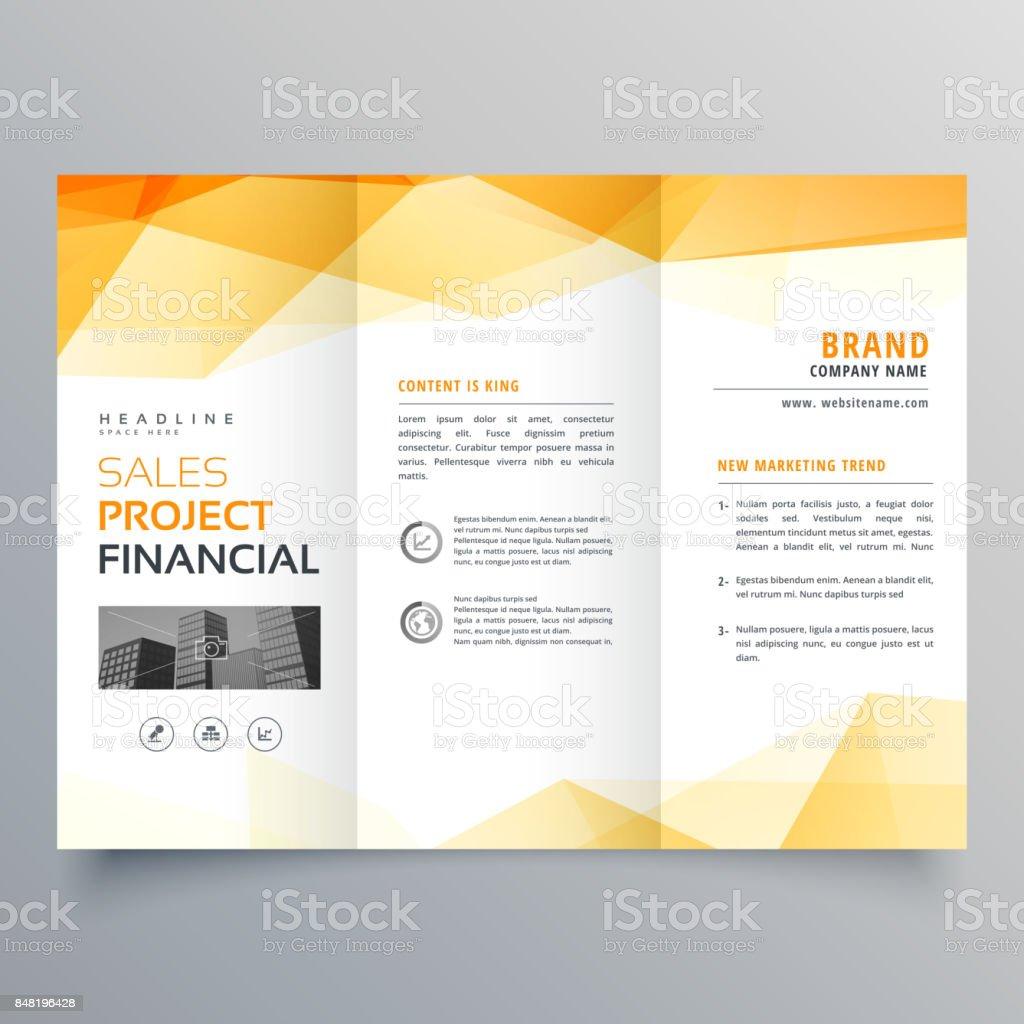 abstract orange trifold creative brochure design template vector art illustration