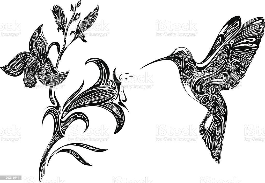 Ilustración de Abstract Orchid Y Colibrí y más banco de imágenes de ...