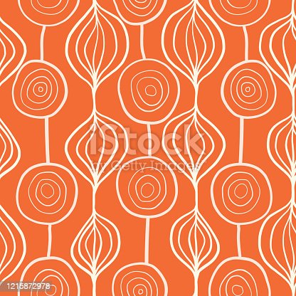 istock Abstract organic ornamental vertical floral vector pattern. Contemporary white and orange mod art organic repeating shapes background. Modern Scandinavian style backdrop hand drawn lines. 1215872978