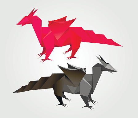 abstract Origami dragon