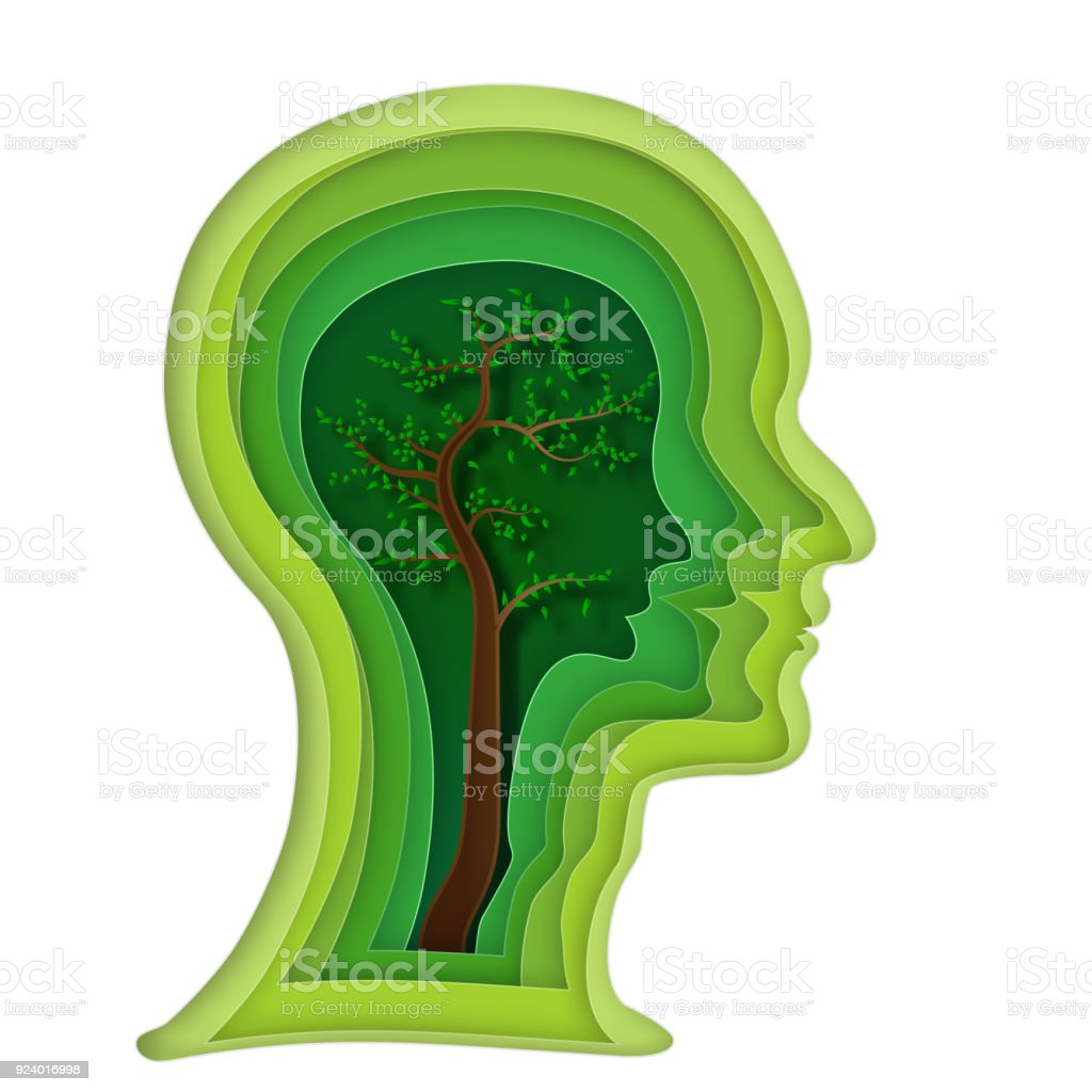 Abstract Origami Layer Of Human Head And Tree Brain On Green Background As Business Science