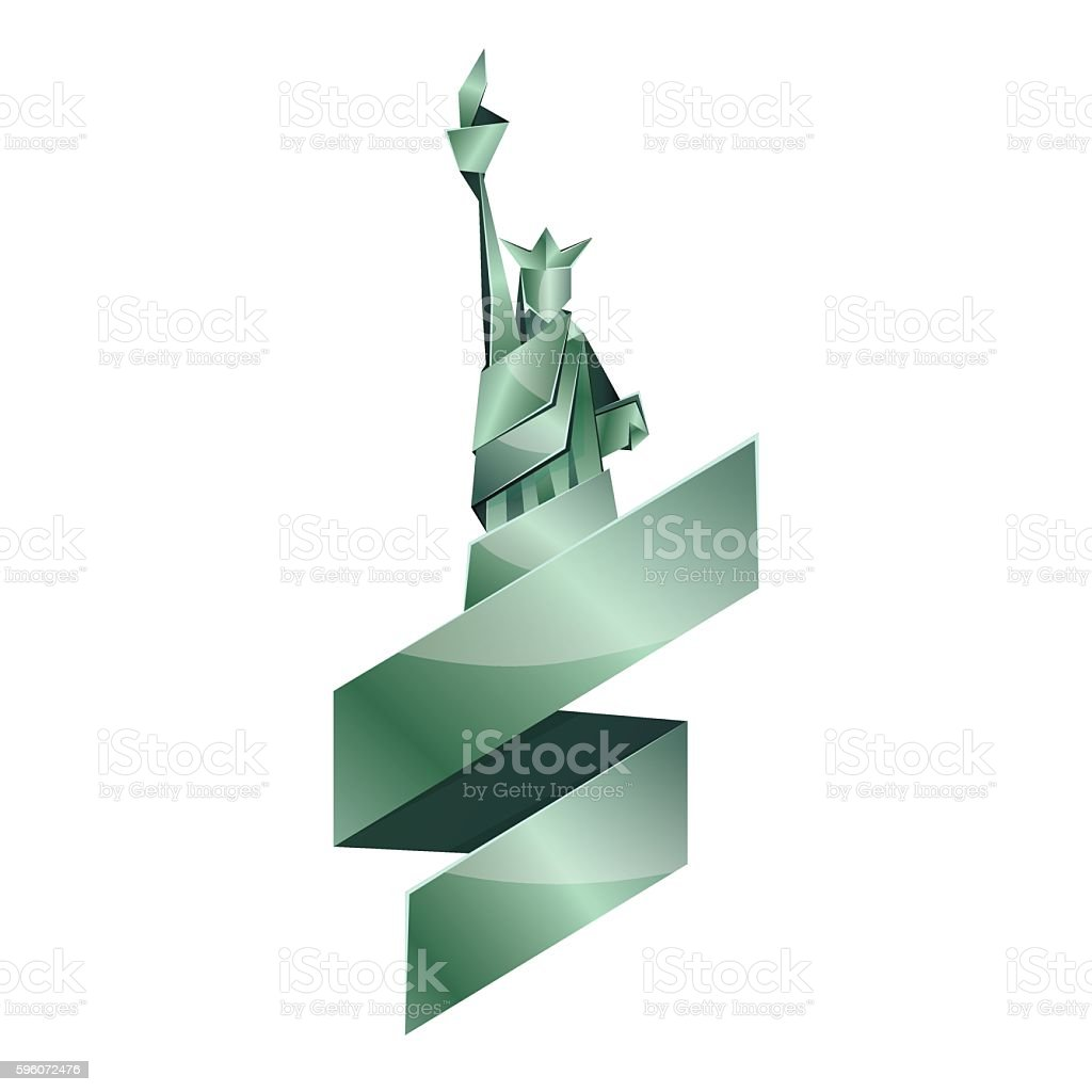 Abstract origami Statue of Liberty illustration. royalty-free abstract origami statue of liberty illustration stock vector art & more images of abstract