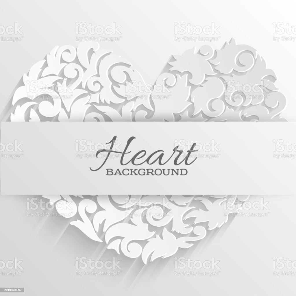 abstract ornament heart decorative card or invitation happy valentine's day vector art illustration