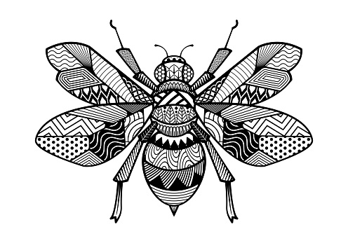 Abstract Ornamental Bees Shape