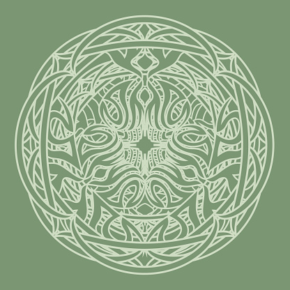 abstract ornamental tribal mandala in druid style