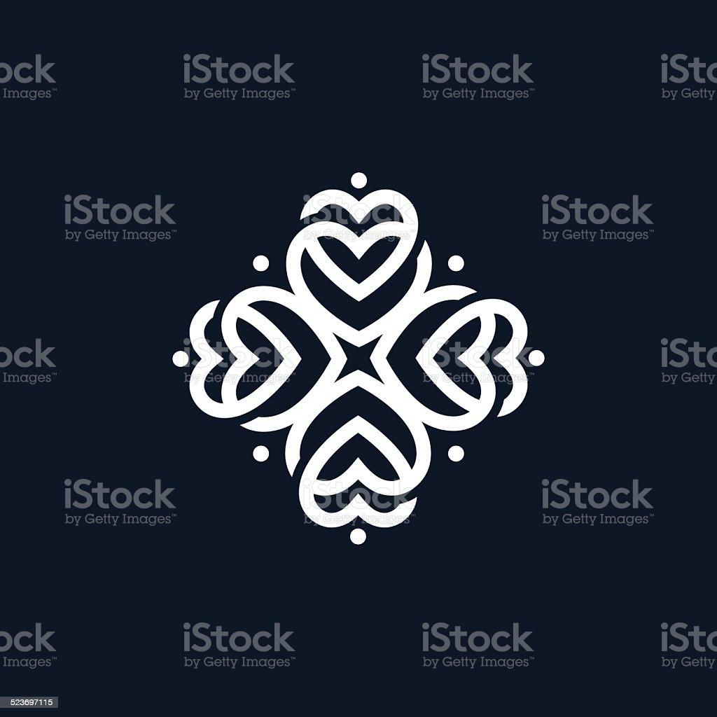 Abstract ornate heart symbol, logo vector art illustration