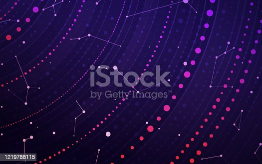 Abstract space stars constellations and planetary rotation deep outer space background illustration concept.