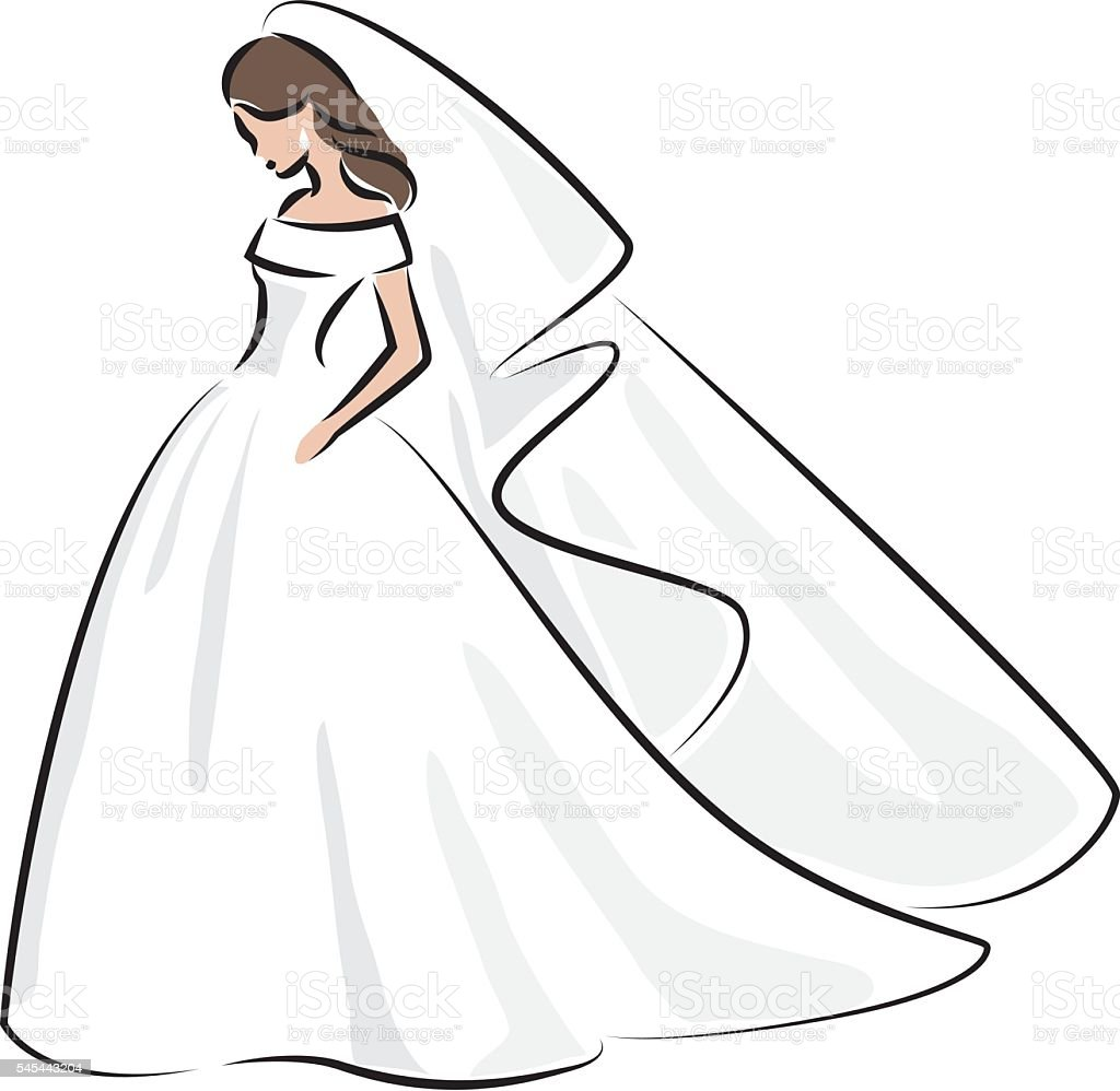 Abstract Outline Color Illustration Of A Young Elegant