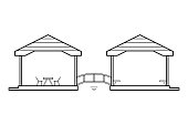 Abstract outline drawing, two connected houses with wood bridge vector illustration