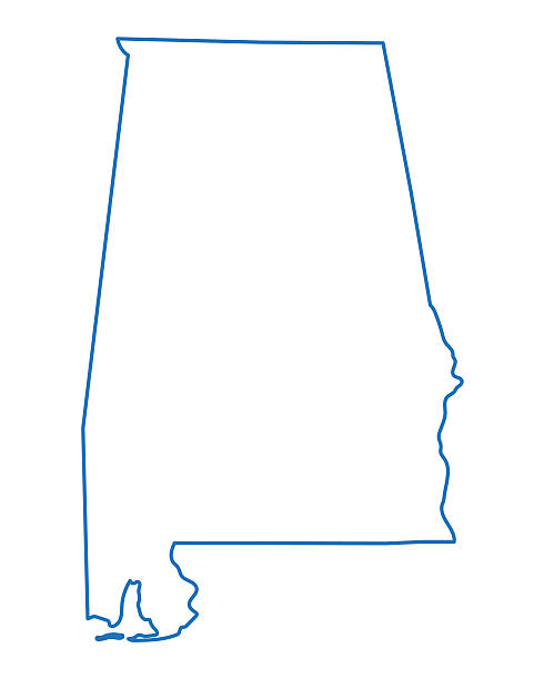 abstract outline of alabama map - alabama stock illustrations