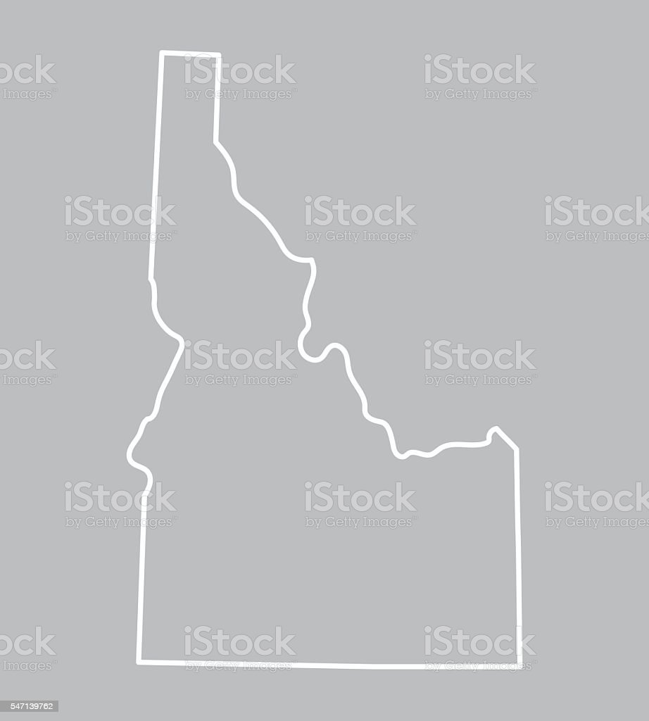 abstract outline of Idaho map vector art illustration